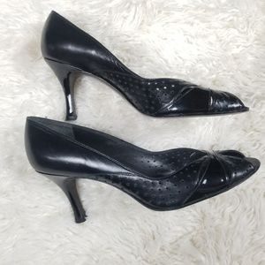 Stuart Weitzman black leather peep toe heels